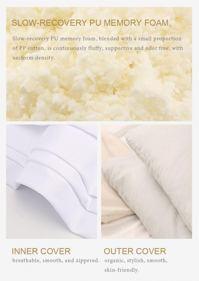 Healthy Hypoallergenic Miracle Neck Memory Foam Pillows Bamboo Shredded 100% Cotton Cover